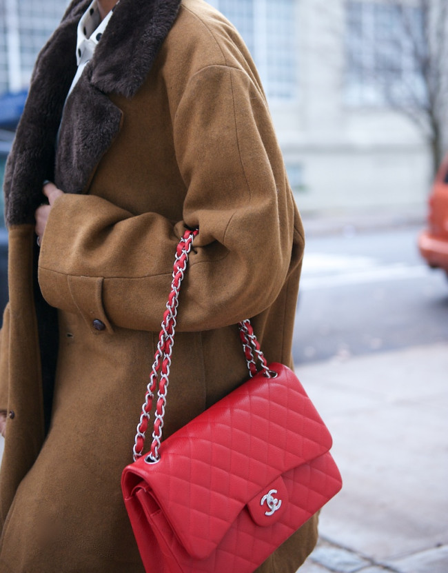 Chanel red classic flap bag