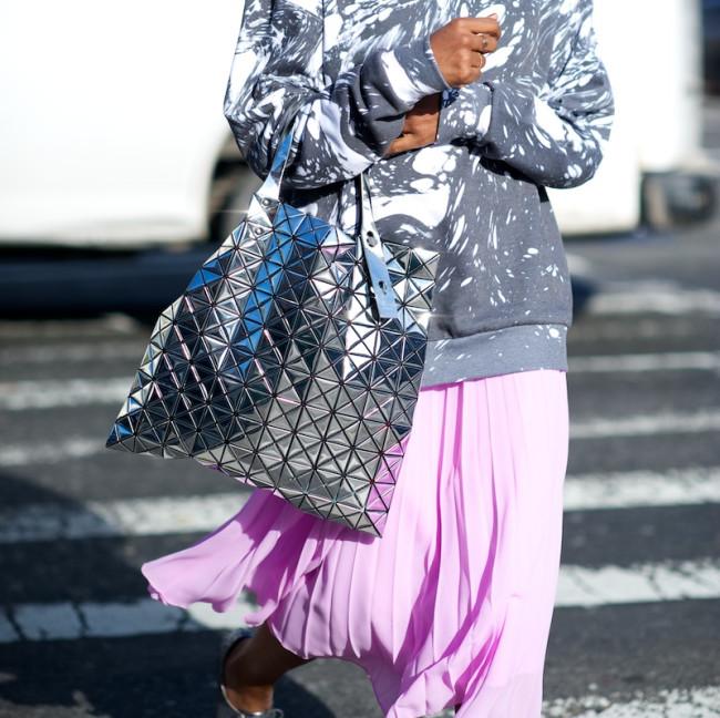 Metallic silver tote bag
