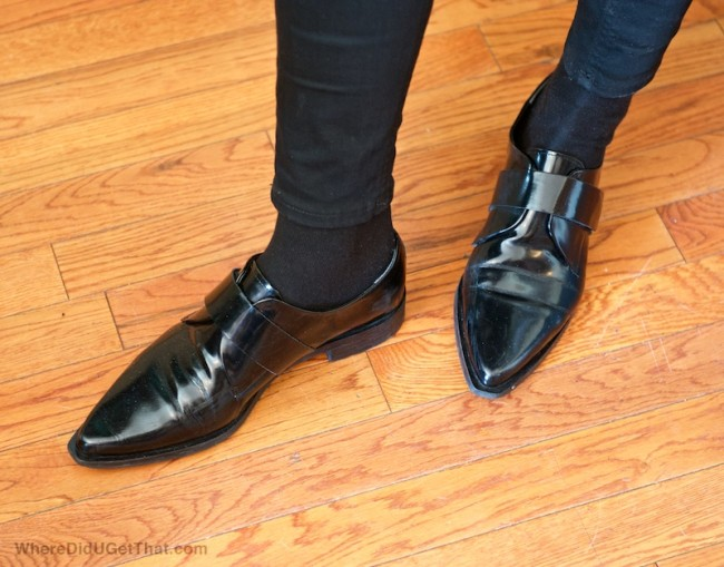 black pointy brogues