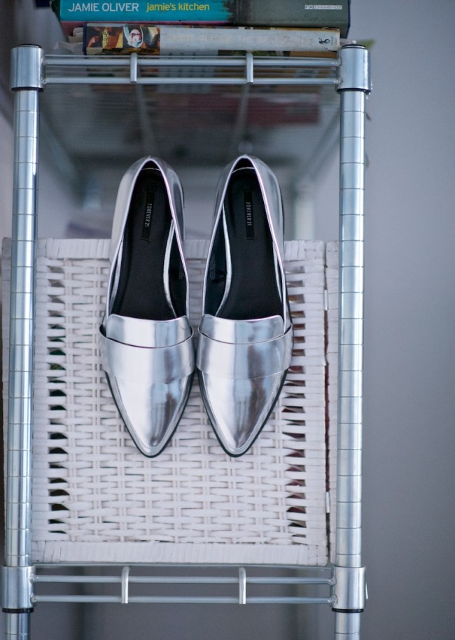 silver pointy loafers