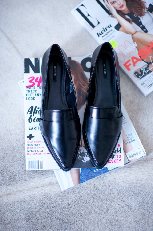 pointy black loafers
