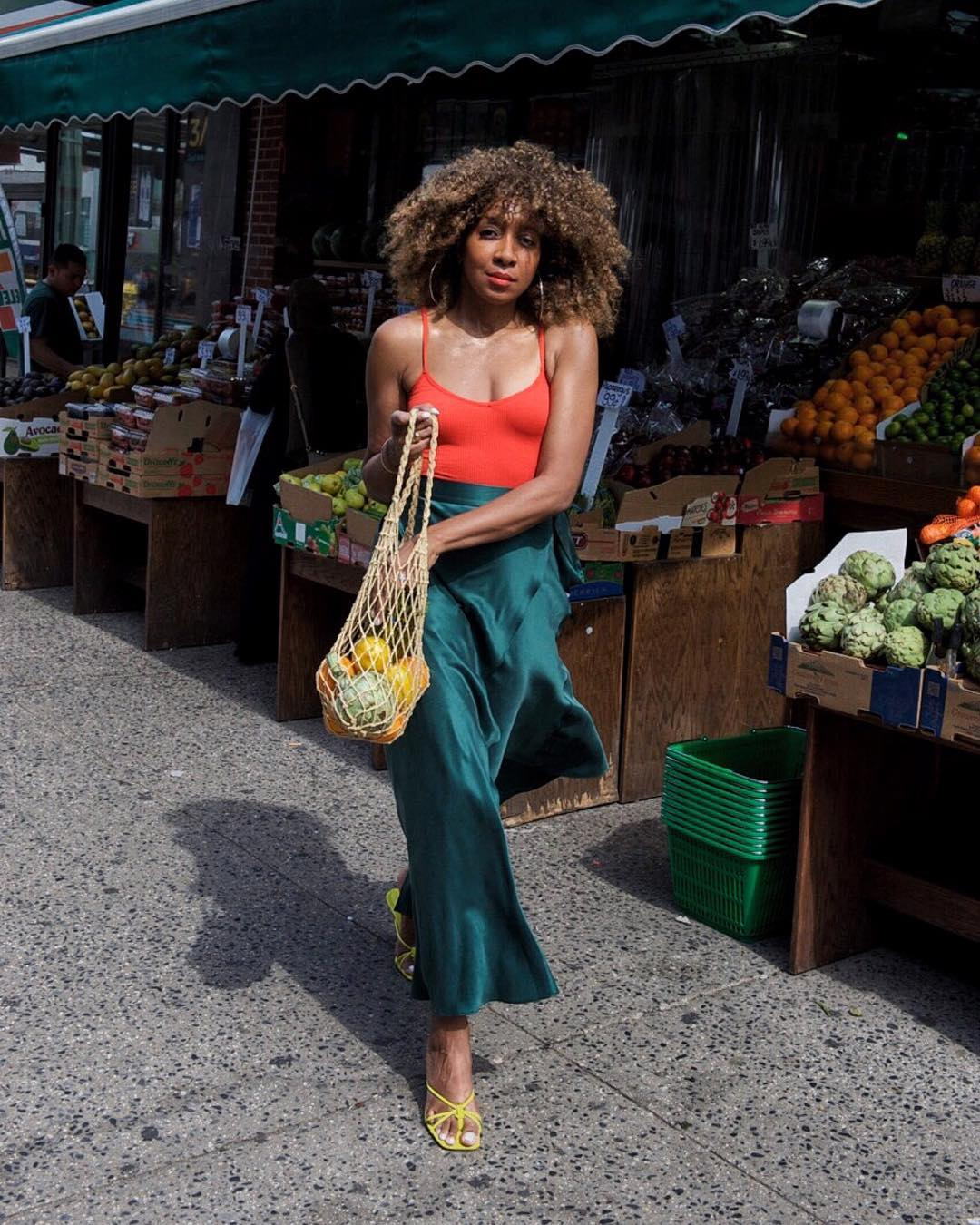 Forest green and red street style