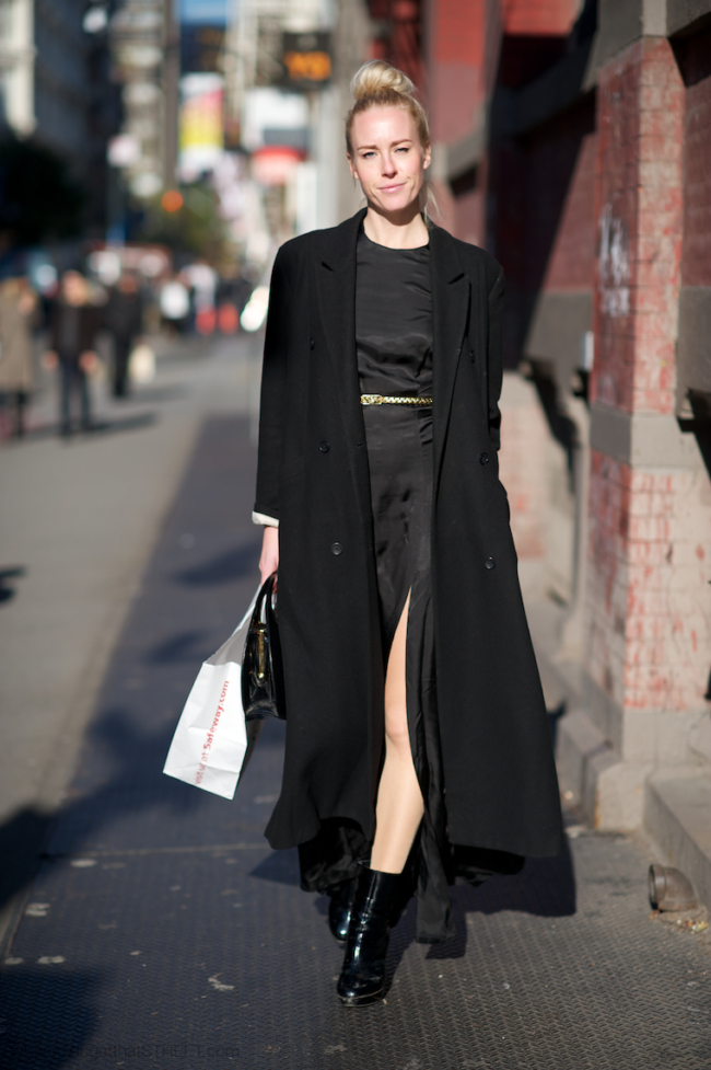 woman wearing black maxi dress and maxi coat