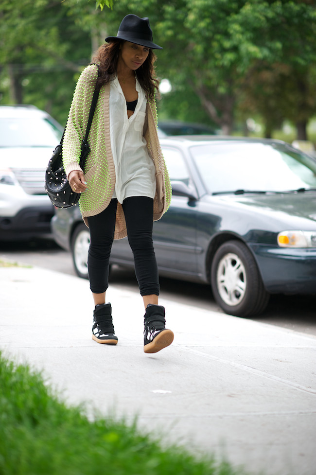 High top trainers and neon sweater