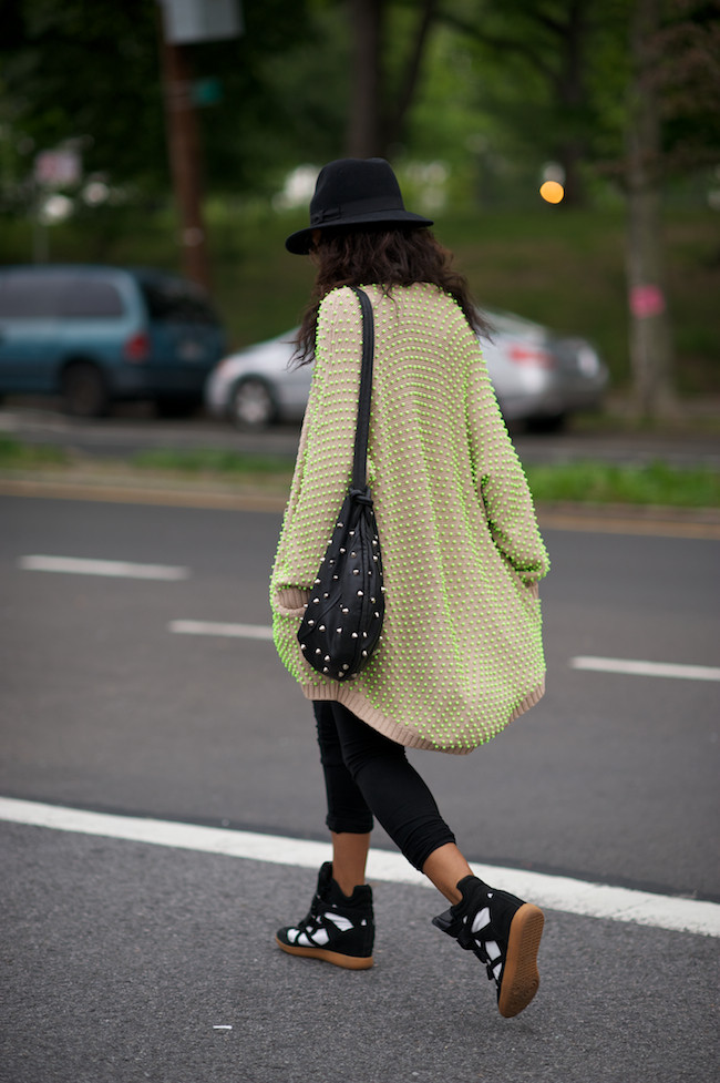 Neon sweater and high top sneakers