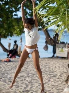 St Lucia, white bikinis