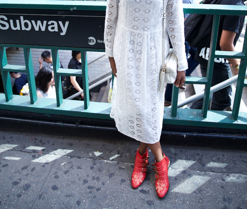 Chloe red boots, red ankle boots
