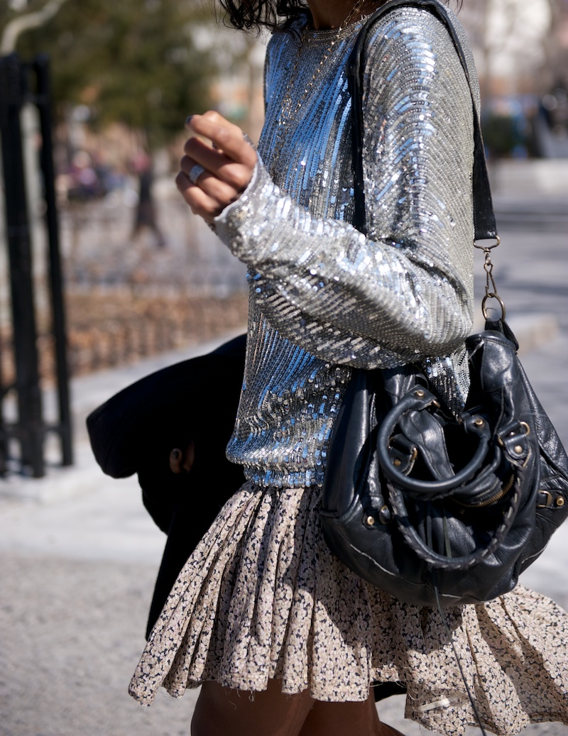 karen blanchard fashion blogger wearing sequin top and balenciaga city bag