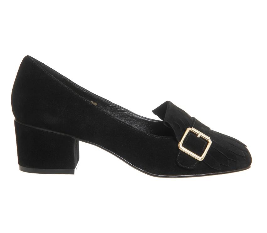 Block heel suede shoes