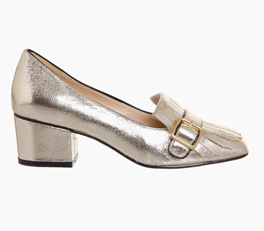 Gold block heel shoes