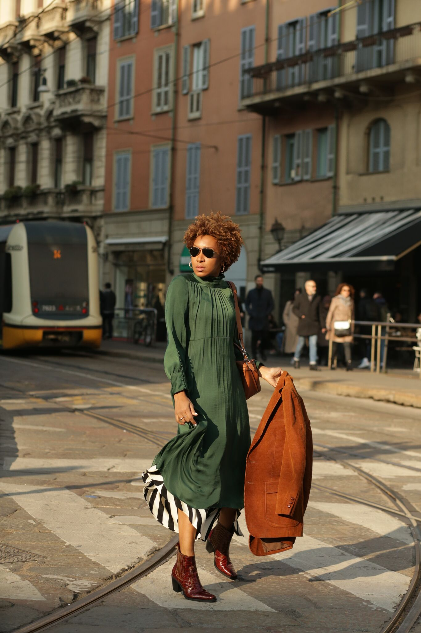 Green silk maxi dress
