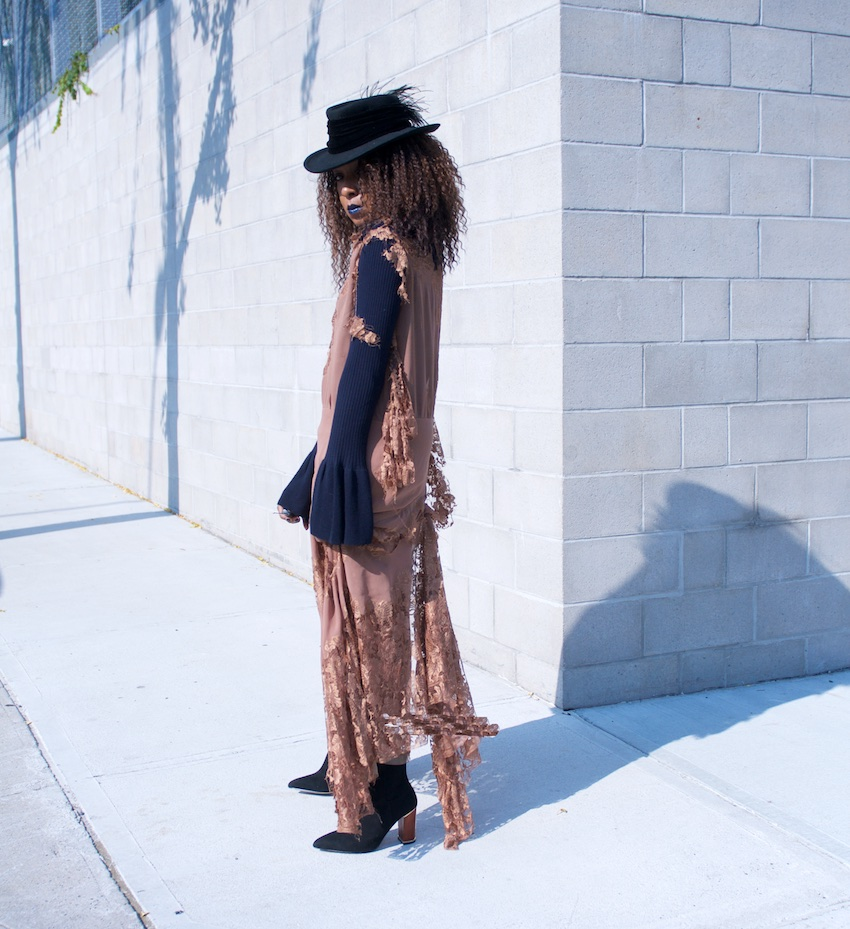 fashion blogger Karen Blanchard in long lace maxi dress with Reiss black suede ankle boots