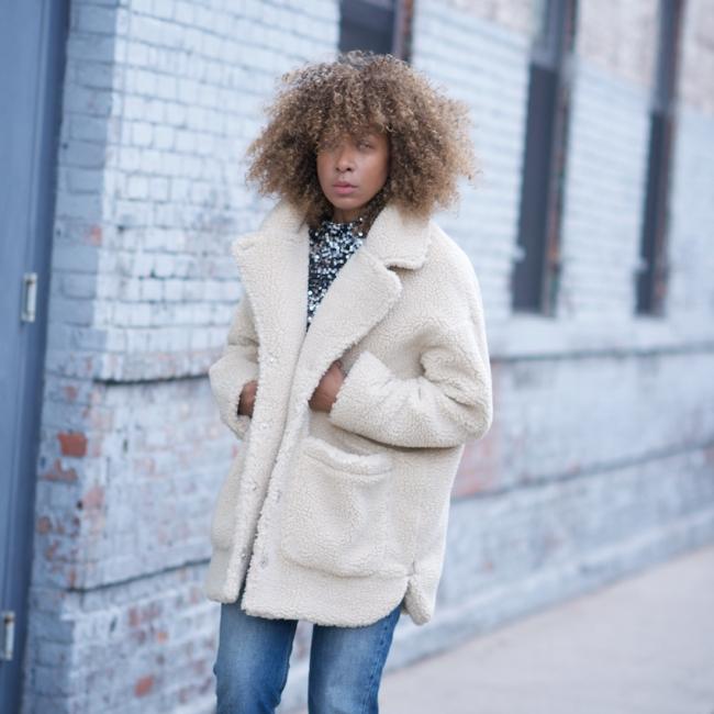teddy coat, monki coat, monki teddy coat, faux fur coats, oversized teddy coat, sequin top, high waist jeans