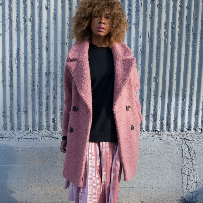 pink teddy coats