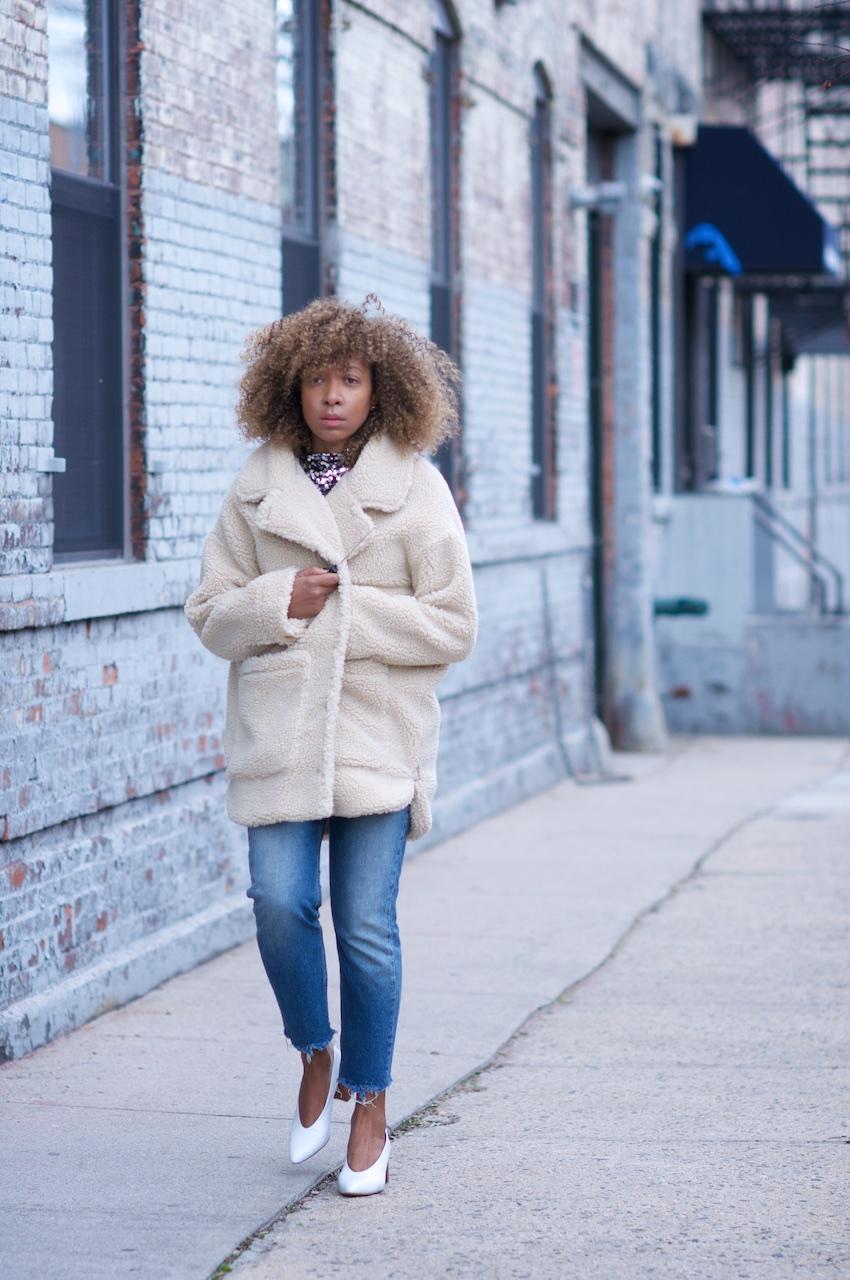 monki teddy coat, teddy coats, cream coat, oversized coats, white block heel shoes