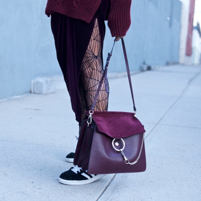 Karen Blanchard with the Chloe Faye bag in dark purple and velvet skirt