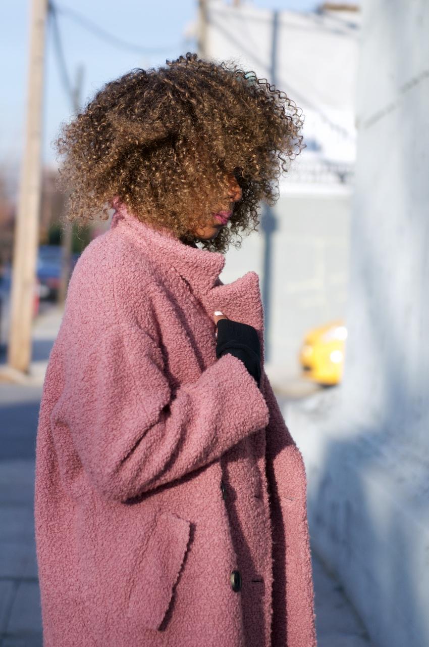 Karen Blanchard wearing a Topshop teddy coat