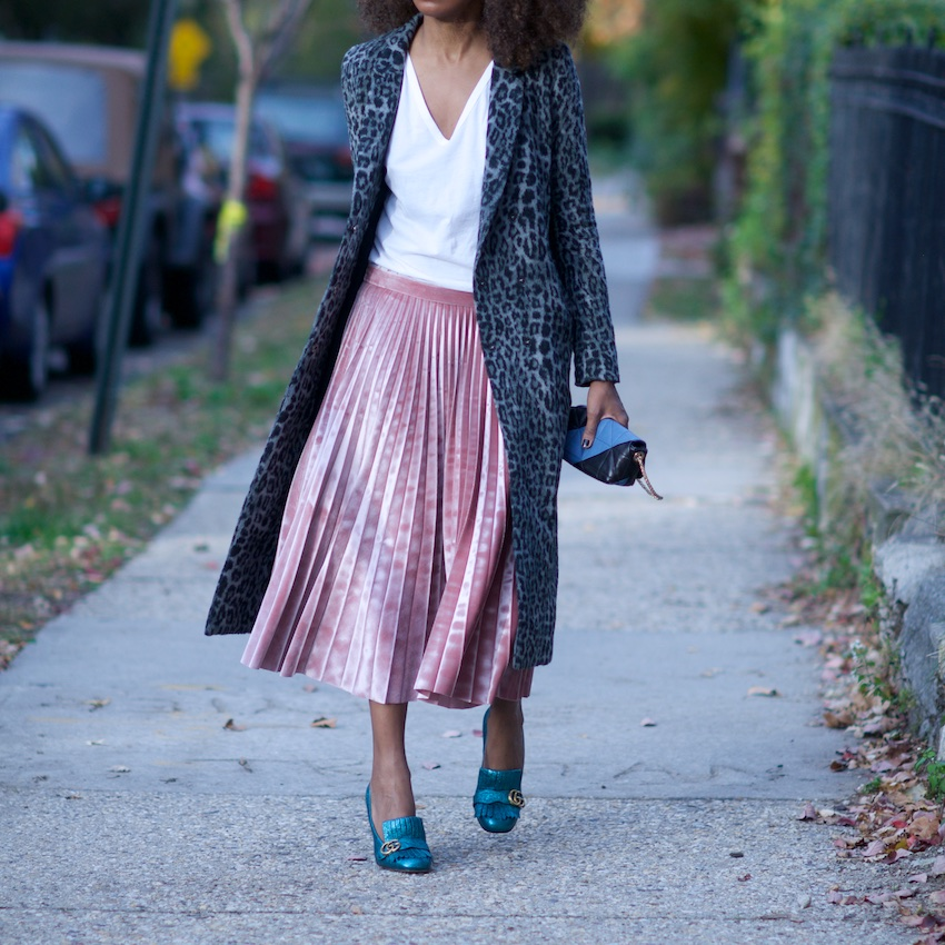 pink velvet pleated skirt with Gucci metallic marmont shoes and sonia rykiel bag