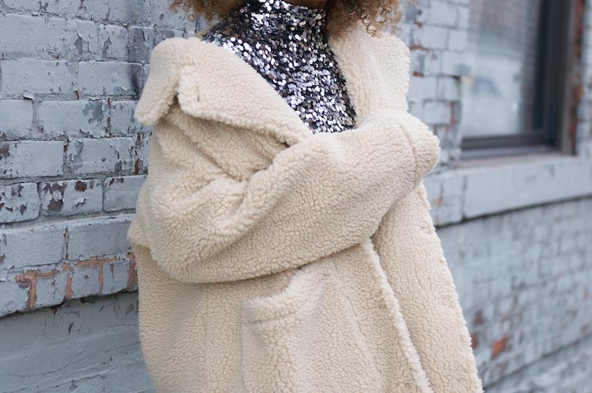 monki coats, monki teddy coat, teddy coats, sequin top, H&M sequin top, sequins, teddy coat