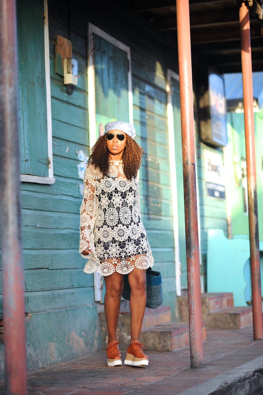 Karen blanchard the fashion blogger wearing a crochet dress and stella mccartney shoes