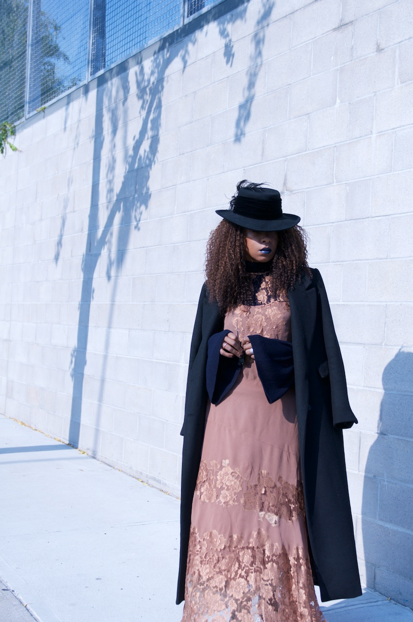 H&M black maxi coat with black fedora and lace vintage maxi dress and NYX metal lipstick