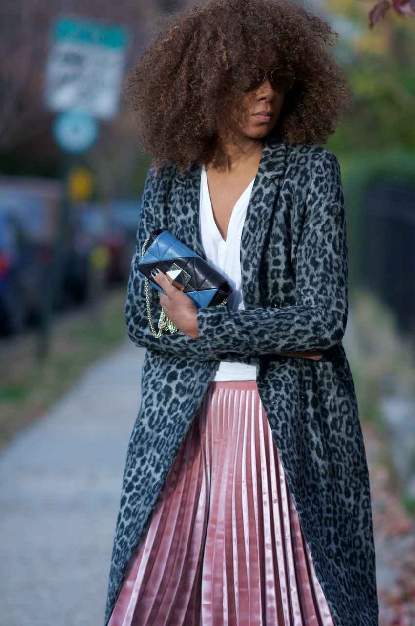 leopard print coat with pink velvet pleated skirt from topshop