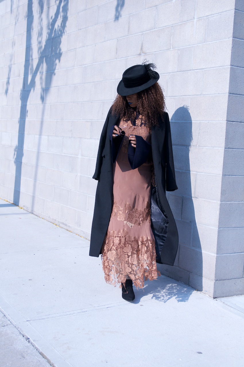 long black wool coat with pointy black ankle boots and long maxi dresses