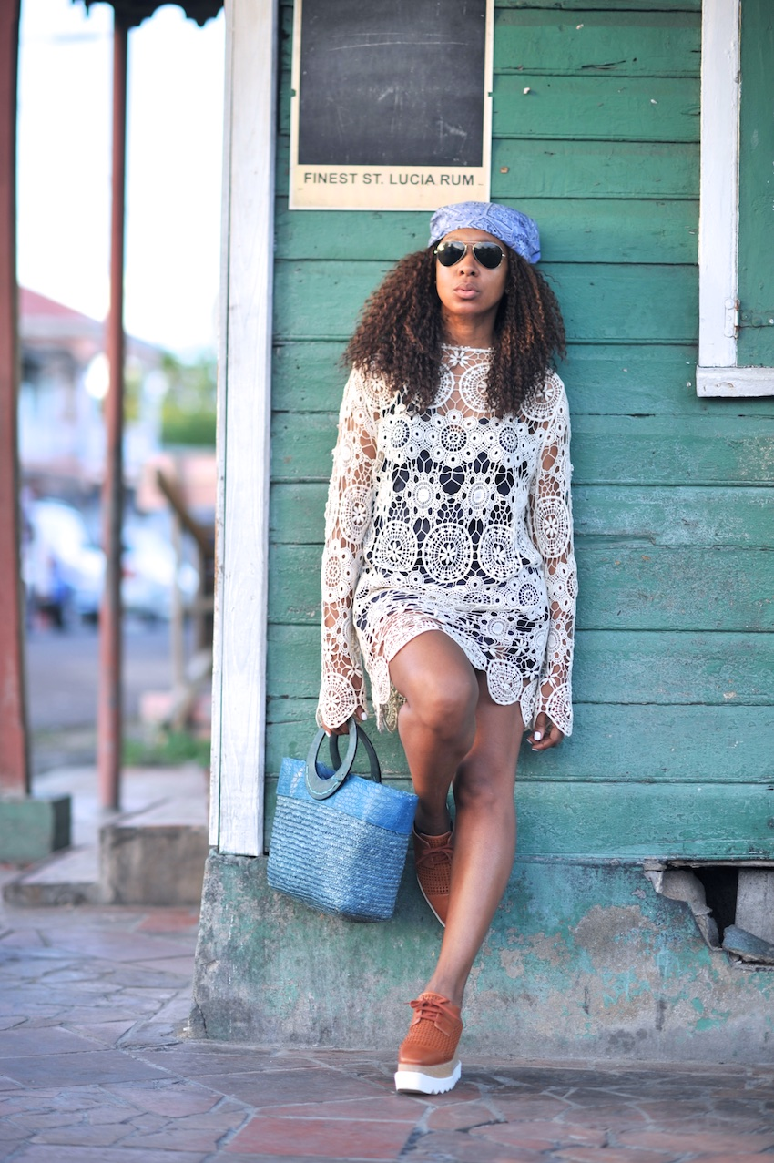 karen blanchard the fashion blogger wearing ray ban sunglasses and stella mmcartney platform shoes
