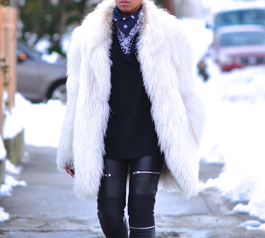 white faux fur coats