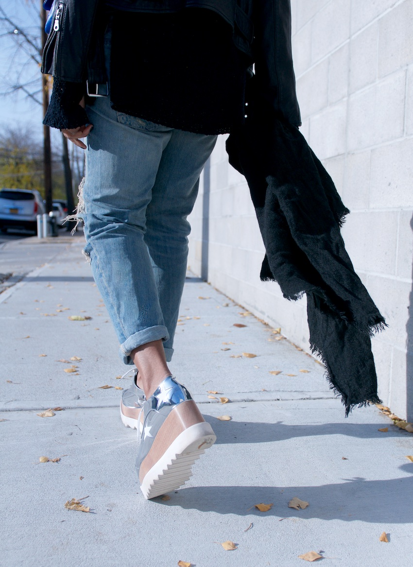 Fashion blogger Karen Blanchard in stella mccartney elyse metallic silver platform shoes and ripped boyfriend jeans from zara