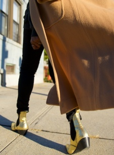 metallic gold boots