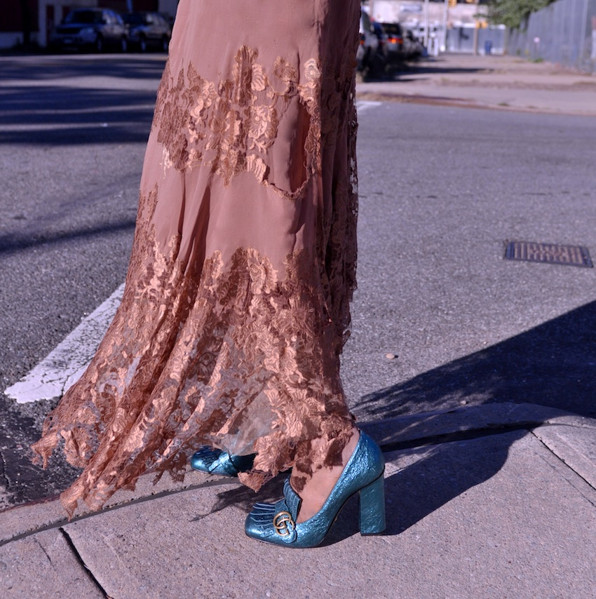 Gucci metallic teal blue marmont shoes