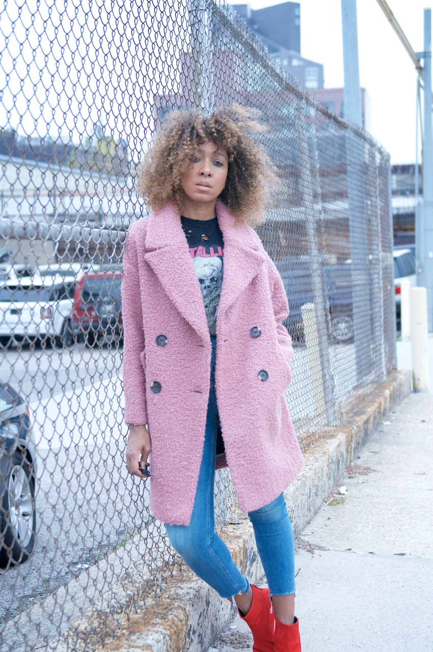 metallica t shirts and topshop pink oversized teddy coat
