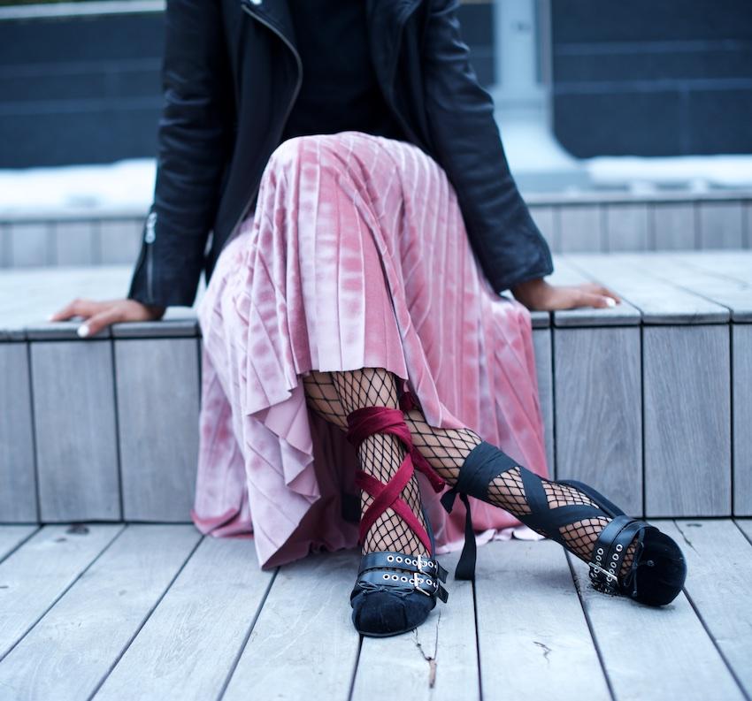 karen blanchard the black fashion blogger wearing miu miu velvet ballet flats