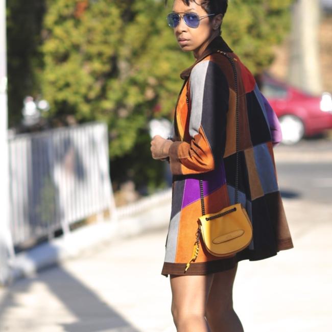 suede patchwork coat