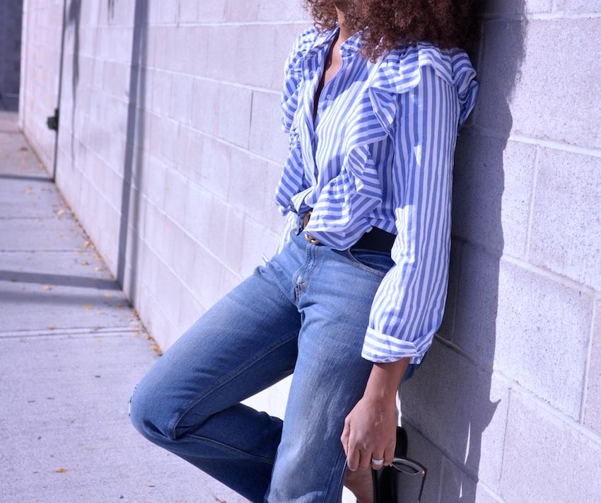 ruffle shoulder blouses