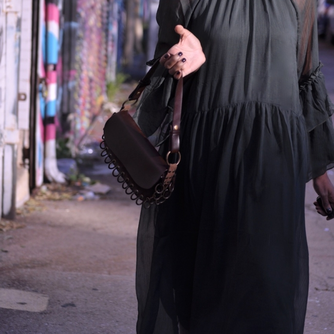 H&M maxi dress with brown leather vintage bag