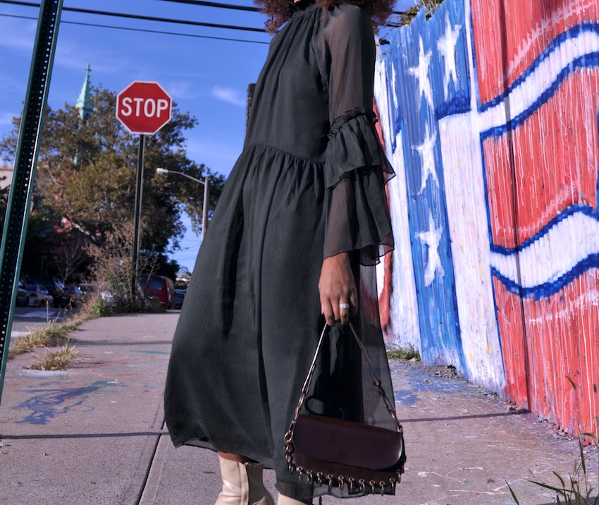H&M ruffle dress with vintage brown leather bag and Olivia Morris white ankle boots