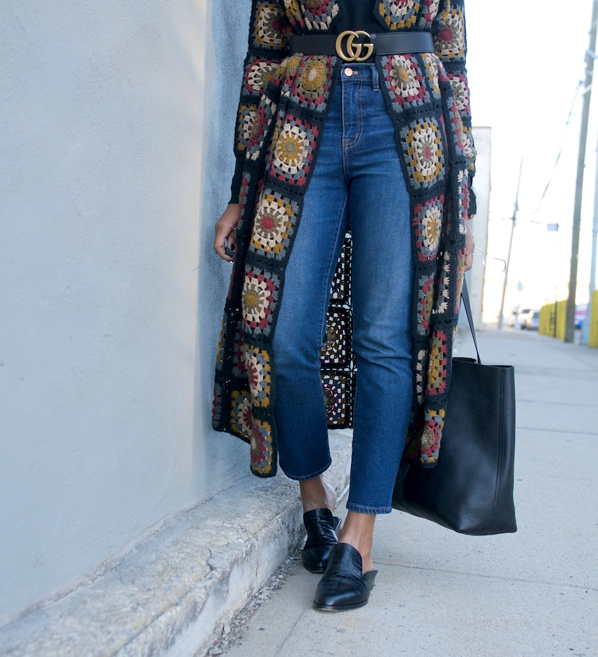 Madewell black transport tote, transport tote, robert clergerie Alice mules, loafers, madewell denim, madewell jeans, high waist jeans, crochet cardigan, zara cardigan coat, Gucci marmont