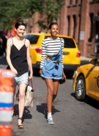 new york fashion week, off duty style, fashion week, fashion models, denim dungarees