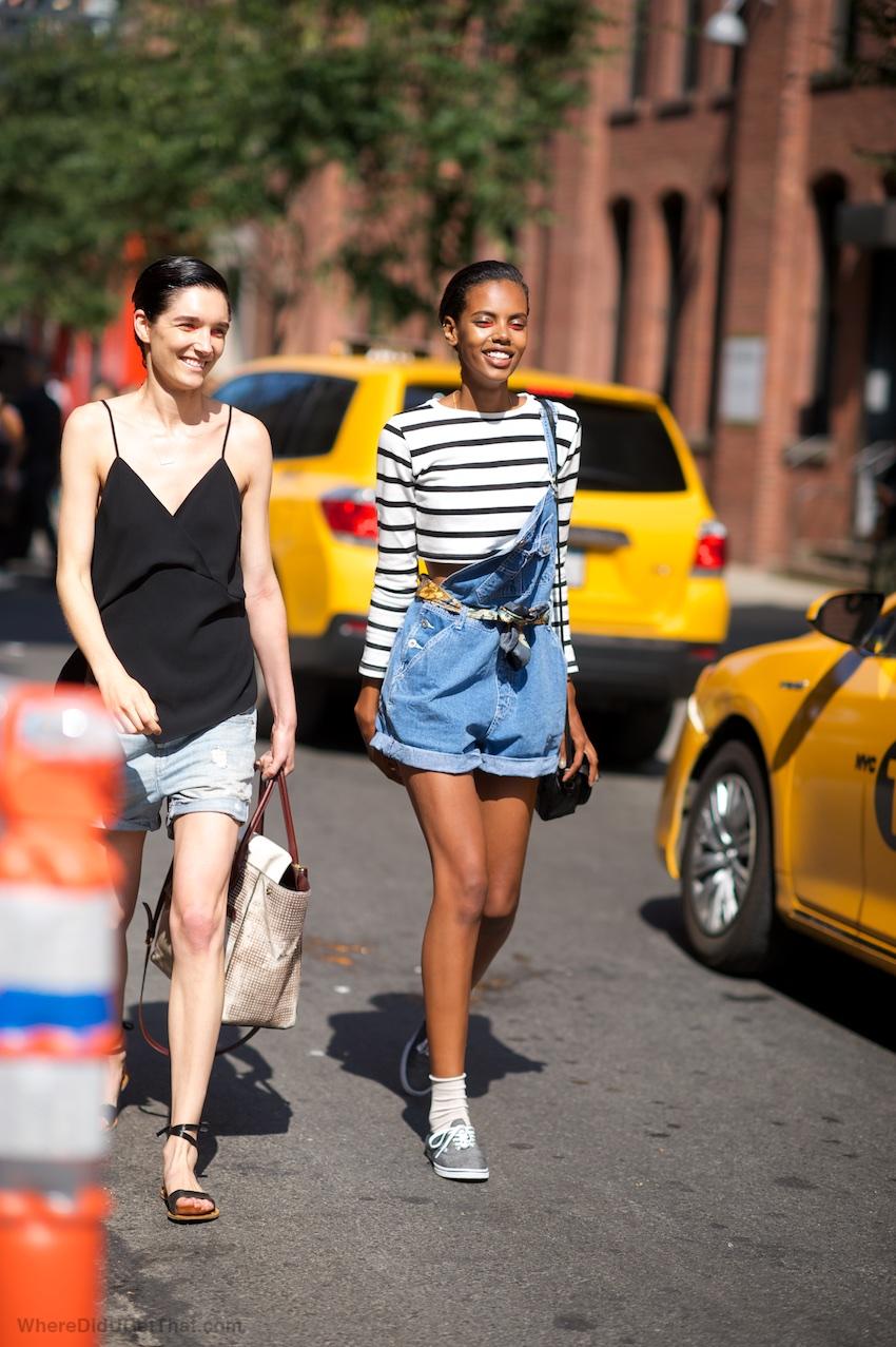 new york fashion week, off duty style, fashion week, fashion models, denim dungarees