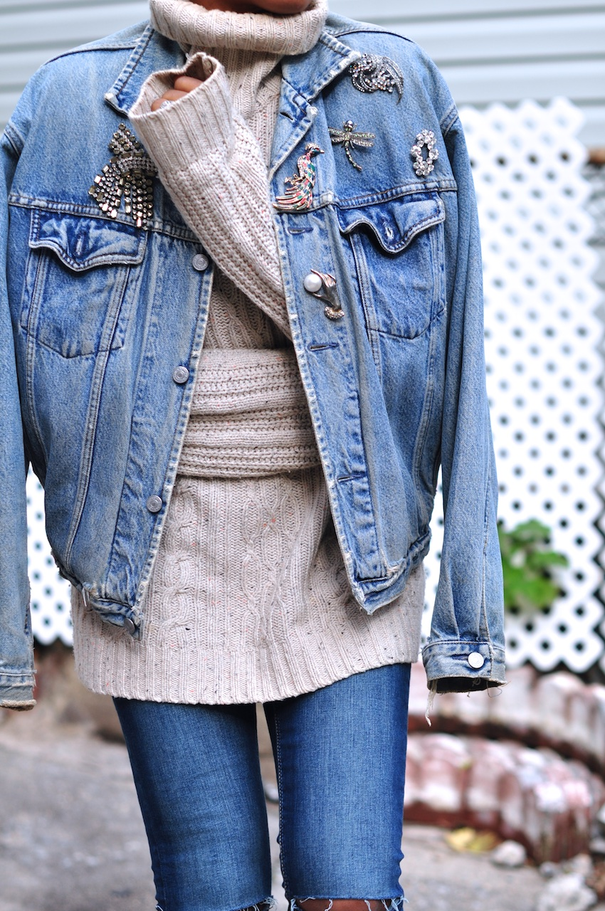 Embellished Oversized Denim Jacket xbdJ8SKjDo