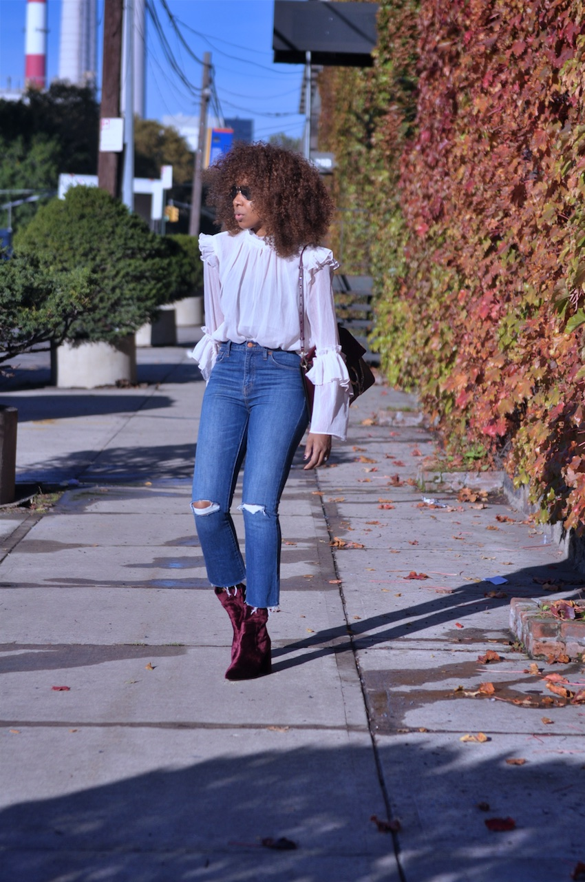 red velvet ankle boots with madewell jeans and H&M romantic blouse
