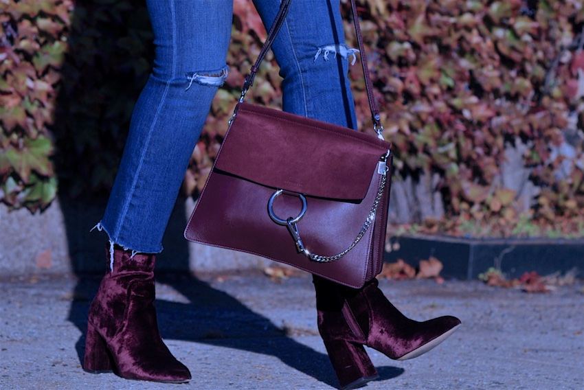 Chloe faye bag in dark purple with steve madden red velvet boots