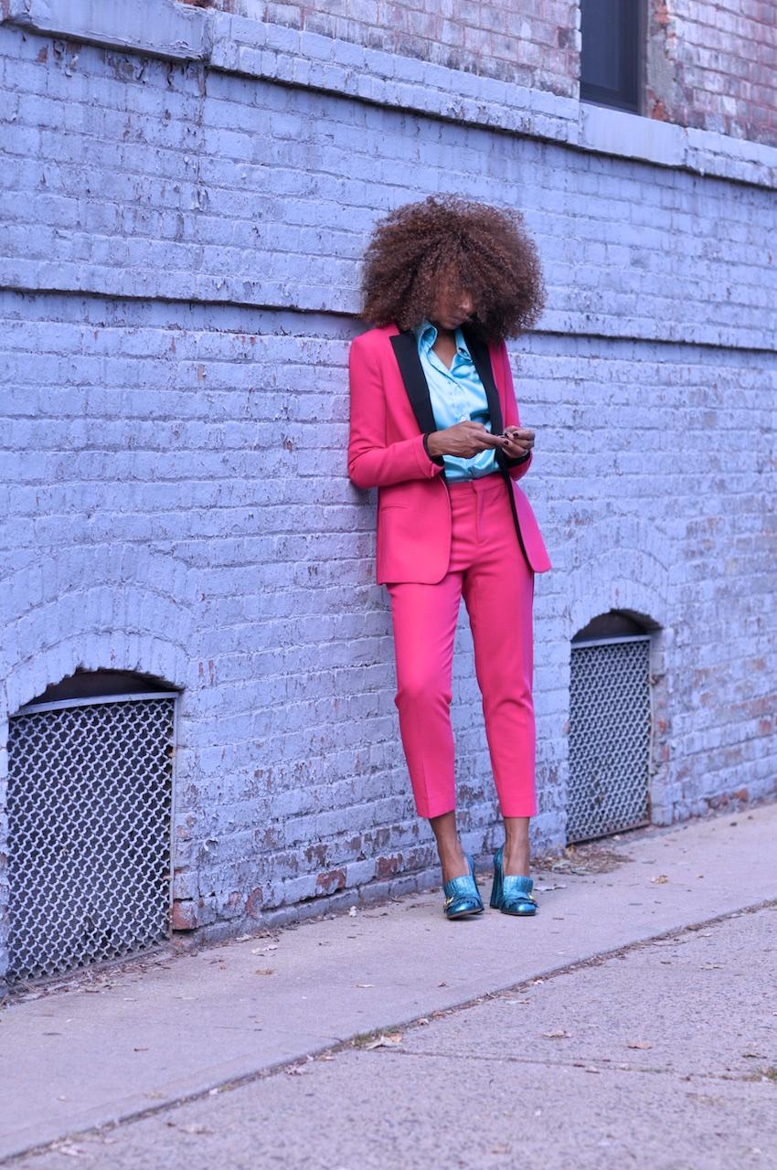 Pink trouser suit