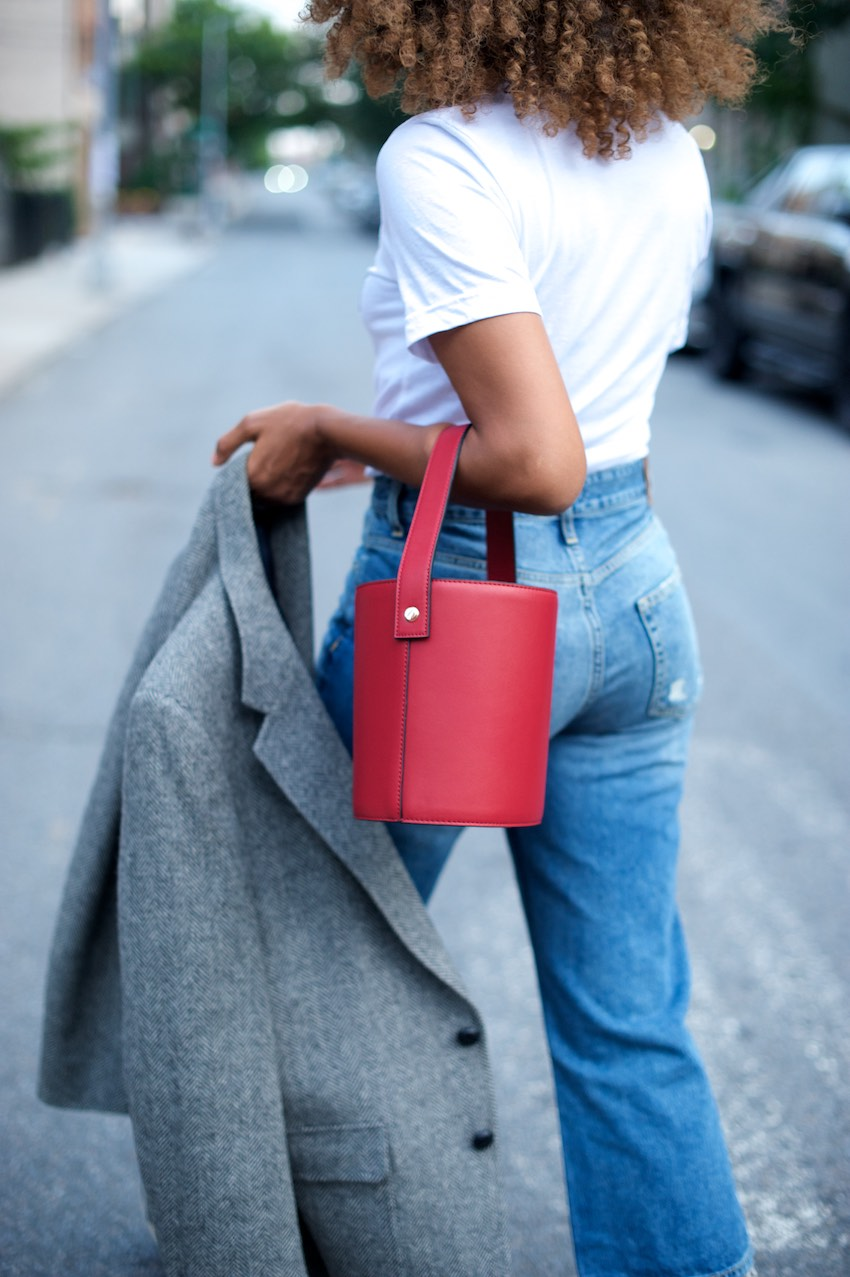 topshop cherry red bucket bag