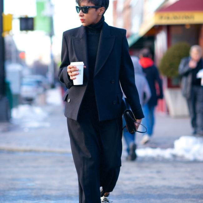 Black wool pea coats