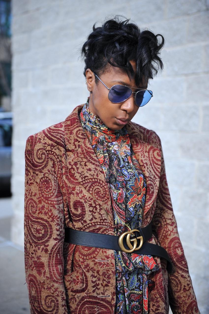 Karen Blanchard wearing the Gucci marmont belt
