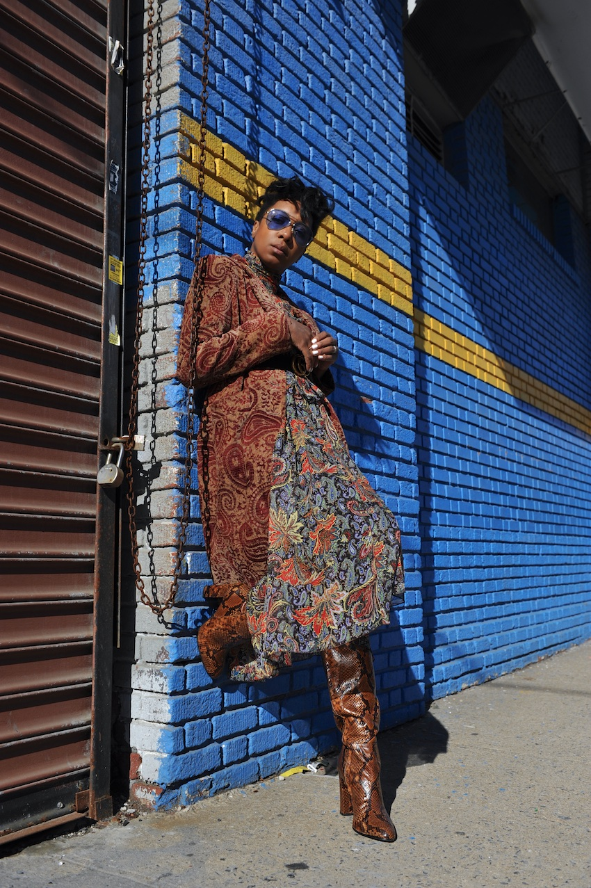 Karen Blanchard wearing a zara maxi floral print dress with steve madden snakeskin boots