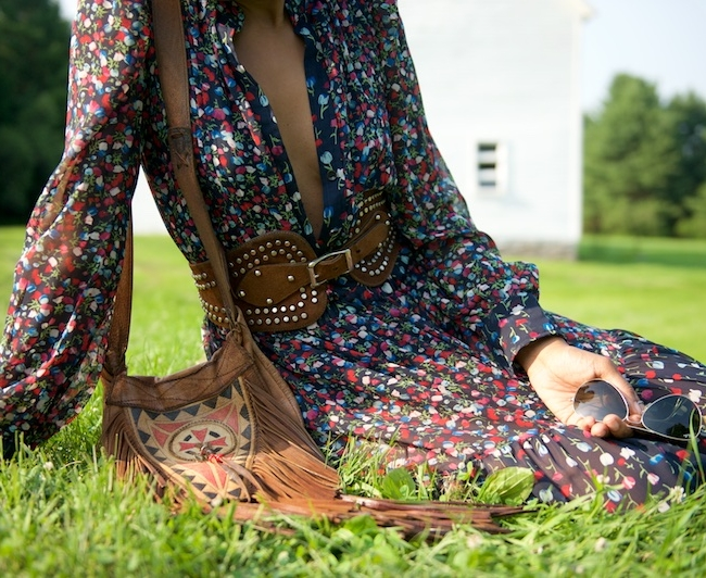 maxi dress, fringe bag, studded belt